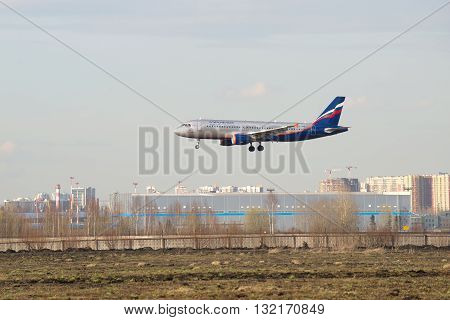 SAINT-PETERSBURG, RUSSIA - APRIL 16, 2016: Airplane Airbus A320-214 (VP-BWD) Aeroflot is going to land at the airport Pulkovo