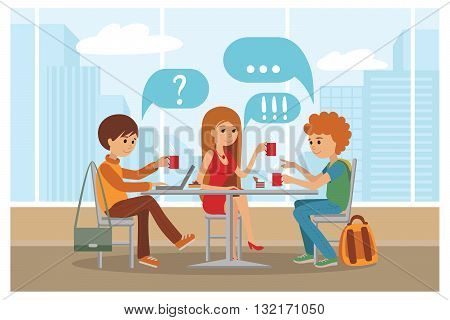 Vector Illustration. People sitting at table at lunch