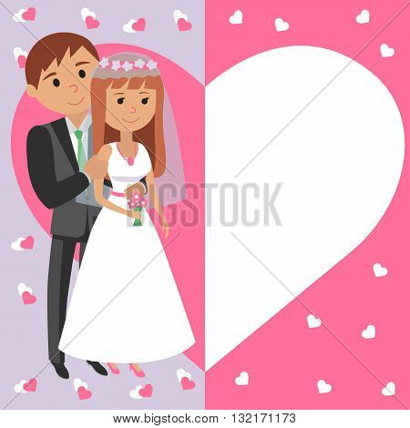 Bride and groom. Portraits of the bride and groom in heart illustration for wedding.
