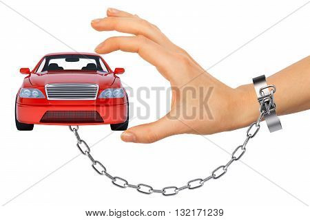 Red car in chained womens hand isolated on white background