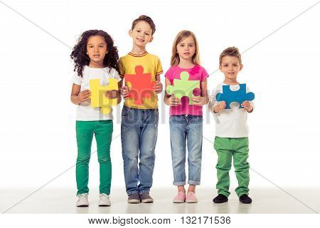 Cute Children With Puzzles