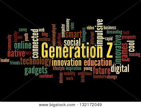 Generation Z, Word Cloud Concept
