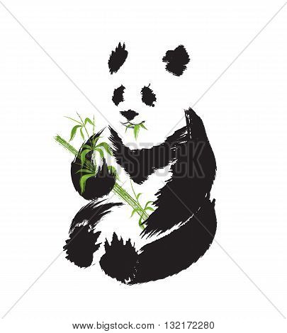 Panda silhouette in asian ink painting style