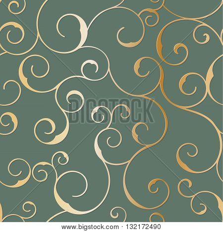Vector seamless metallic swirly pattern on a black background.