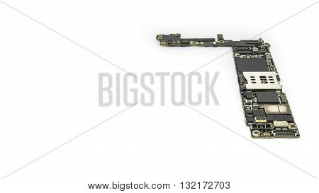 Smart phone circuit board isolate on white background with clipping path Copy Space