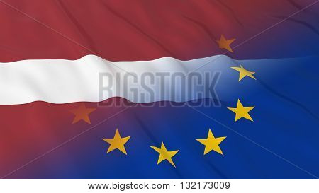 Latvian and European Union Relations Concept - Merged Flags of Latvia and the EU 3D Illustration