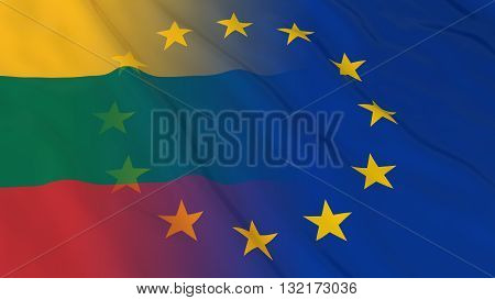 Lithuanian and European Union Relations Concept - Merged Flags of Lithuania and the EU 3D Illustration
