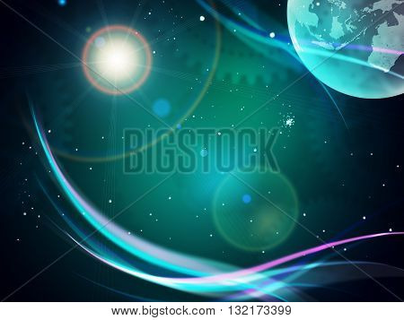 Gravitaional wave burst, computer generated abstract background. Elements of this image furnished by NASA