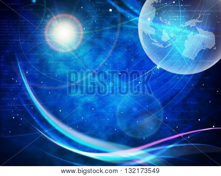 Gravitaional wave burst, computer generated abstract blue background. Elements of this image furnished by NASA