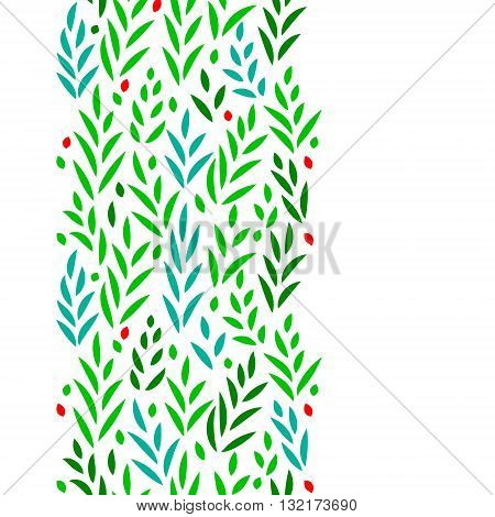 Subtle green leaves floral vertical seamless border on white, vector background