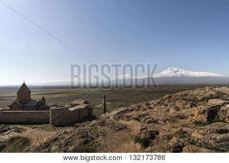 Famous Hor Virap Monastery with Ararat Mount in background. Armenia.