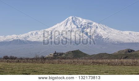 Stunning view on Hor Virap Monastery with Ararat Mount in background. Armenia.