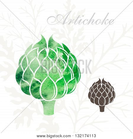 Artichoke icons set. Vegetables icon with watercolor texture