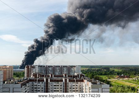 Black smoke from a major fire in a Moscow, Russia