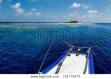 Maldives Paradise Beach Landscape View From Boat