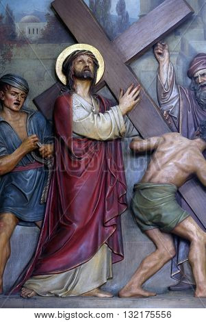 ZAGREB, CROATIA - SEPTEMBER 14: 2nd Stations of the Cross, Jesus is given his cross, Basilica of the Sacred Heart of Jesus in Zagreb, Croatia on September 14, 2015