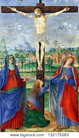 ZAGREB, CROATIA - DECEMBER 08: Matteo da Milano: miniatures from the breviary of Alfonso I d'Este: Crucifixion, Old Masters Collection, Croatian Academy of Sciences, December 08, 2014 in Zagreb