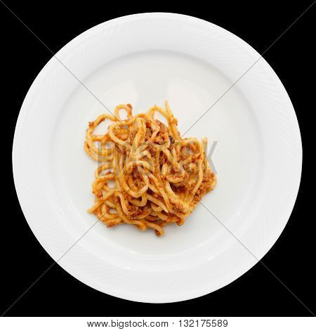 Traditional Tuscan pici pasta with wild boar meat isolated on black