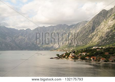 Panoramic view of Kotor and surrounding mountains in Kotor Montenegro