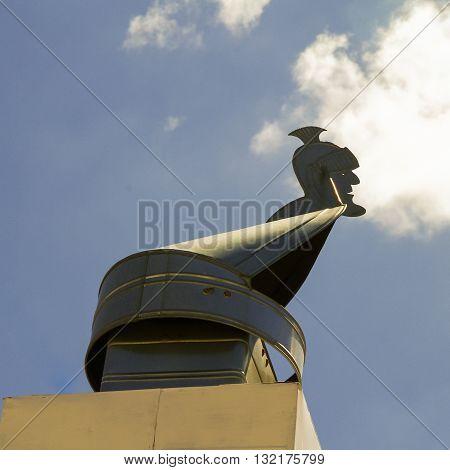 Roman centurian chimney stack cover in Alberobello Italy