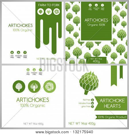 Artichokes pack set. Vegetables label for packaging design