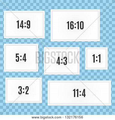Collection of seven picture frames with different aspect ratio size. 14:9, 16:10, 5:4, 4:3, 1:1, 3:2, 11:4. Template, vector, eps10.