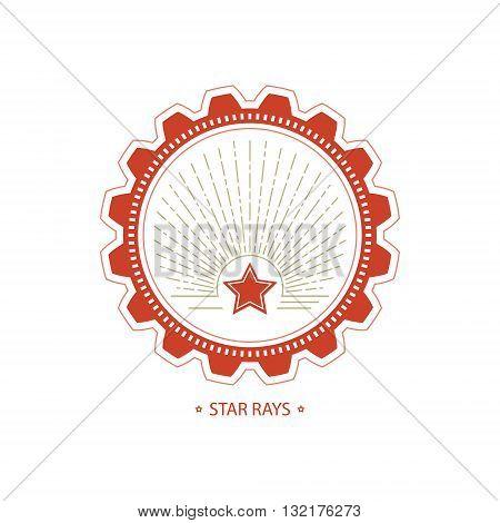 Mining Industry Emblem, Star and Sunburst in Gear , Design Element, Vector Illustration