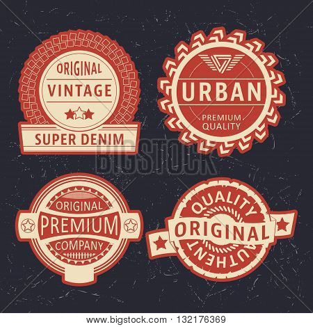 T-shirt print design. Vintage label set. Printing and badge applique label t-shirts, jeans, casual wear. Vector illustration.