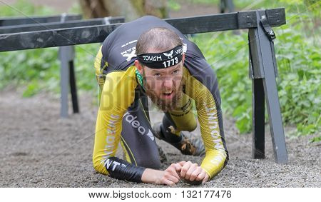 STOCKHOLM SWEDEN - MAY 14 2016: Struggling man crawling under bars in the obstacle race Tough Viking Event in Sweden April 14 2016
