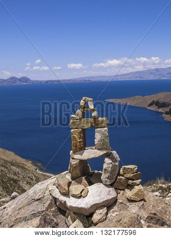 Stone cairn in the Island of the Sun in Lake Titicaca, between Peru and Bolivia