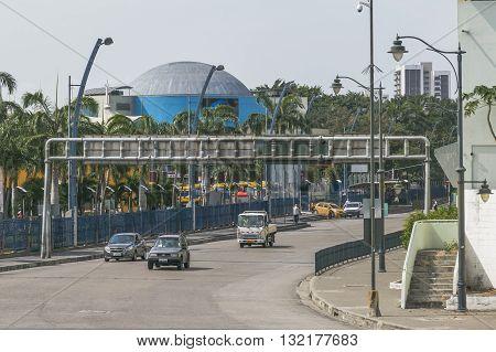 GUAYAQUIL, ECUADOR, OCTOBER - 2015 - Urban scene of important avenue of Guayaquil Ecuador