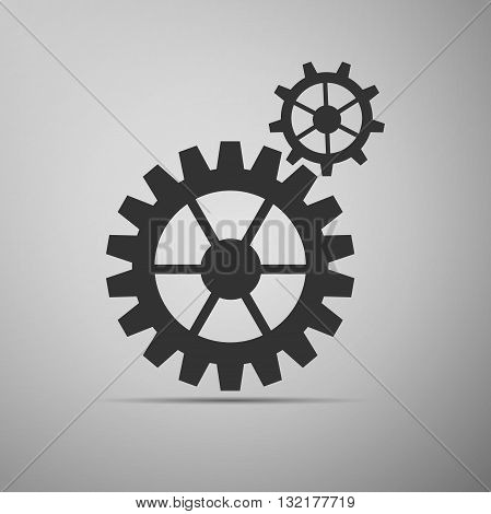 Gear icon on gray background. Vector Illustration.