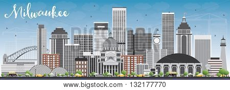 Milwaukee Skyline with Gray Buildings and Blue Sky. Business Travel and Tourism Concept with Modern Buildings. Image for Presentation Banner Placard and Web Site.