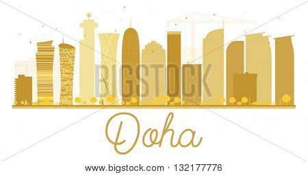 Doha City skyline golden silhouette. Business travel concept. Cityscape with landmarks