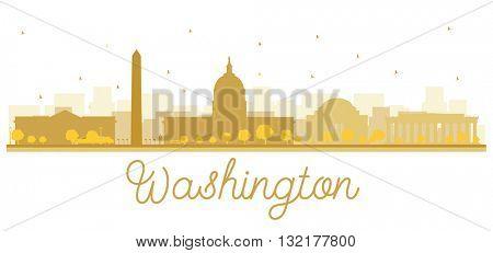 Washington dc city skyline golden silhouette. Business travel concept. Cityscape with landmarks