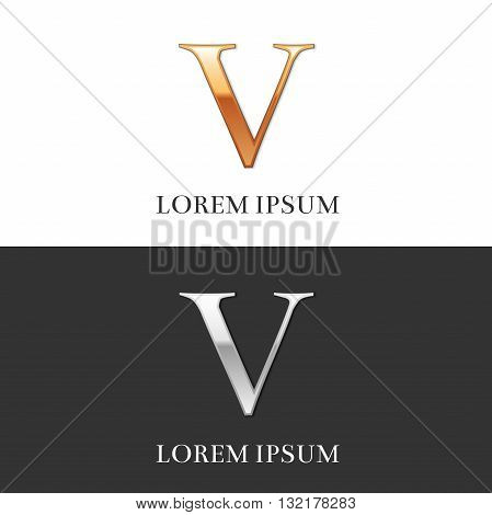 5, V, Luxury Gold and Silver Roman numerals, sign, logo, symbol, icon, graphic. Vector Illustration.