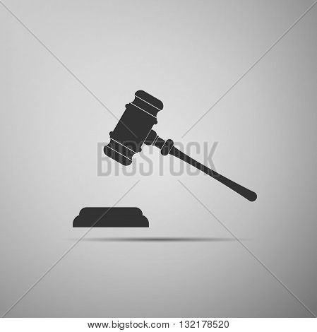 Gavel - hammer of judge or auctioneer icon . Vector illustration