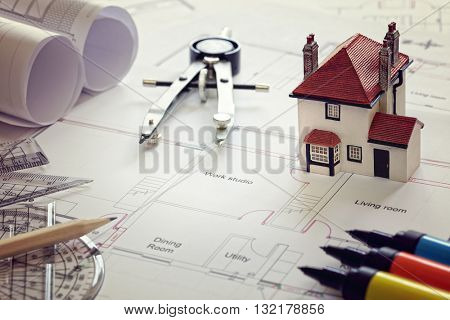 House plan blueprint and model house concept for new house design or home improvement