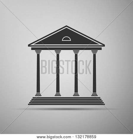 Courthouse icon on gray background. Vector illustration