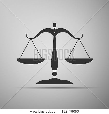 Justice scales silhouette icon on gray background. Vector illustration