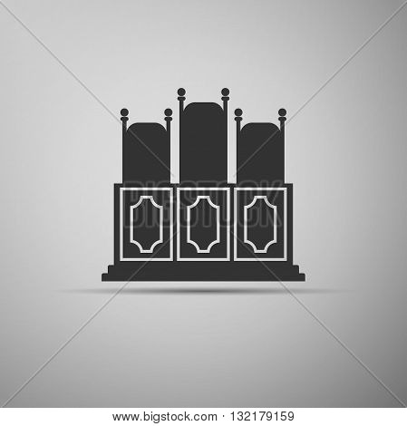 Court's room with table, chairs icon. Vector illustration