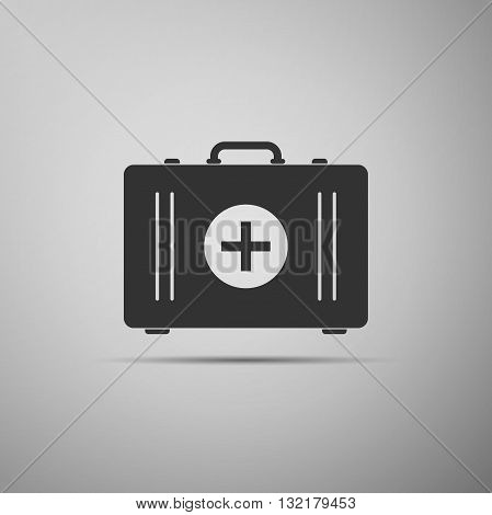 First aid box icon on gray background. Vector illustration