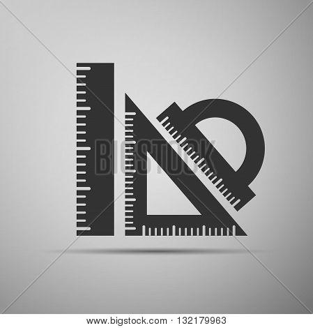 Straightedge icon on gray background. Vector Illustration.