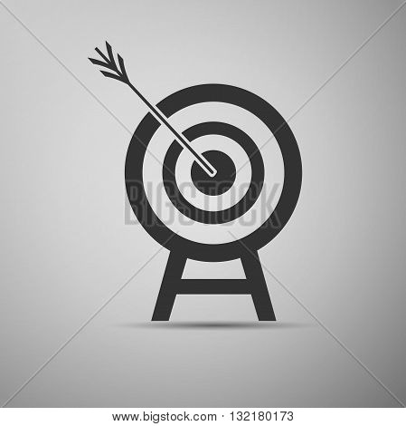 Target with dart in black icon. Vector Illustration.