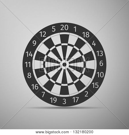 Classic Darts Board with Twenty Black and White Sectors icon. Vector Illustration.
