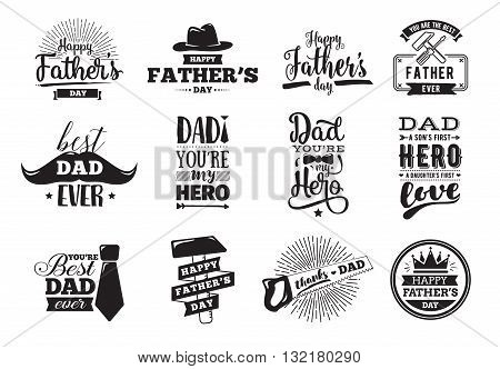 happy fathers day set vector typography vintage lettering for greeting cards banners