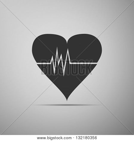Heart Rate icon on gray background. Vector Illustration.
