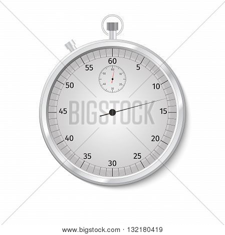 Realistic Classic Stopwatch Isolated on White. Vector Illustration.