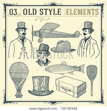 Old style elements set. Vector