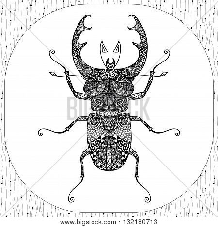 Coloring Page of Decorative Black Stag-beeatle with Hand Drawn Patterns, Zentangle Vector Illustartion, Tribal Totem Insect for Adult Coloring Books or Tattoos, Isolated on Background. Monochrome Sketch.